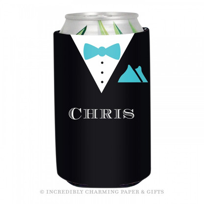 Personalized Formal Groom Koozie in Aqua
