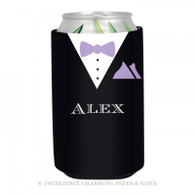 Personalized Formal Groom Koozie in Lilac