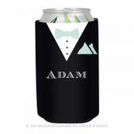 Personalized Formal Groom Koozie in Mint