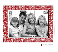Vintage Damask Red Folded Digital Holiday Photo Card