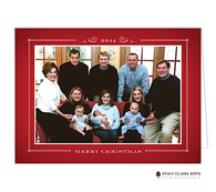 Tailored Trellis Red Folded Digital Holiday Photo Card