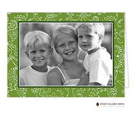 Floral Fancy Evergreen Folded Digital Holiday Photo Card
