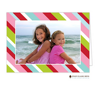 Preppy Stripe Holiday Folded Digital Holiday Photo Card
