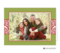 Vintage Wrap Chartreuse Folded Digital Holiday Photo Card