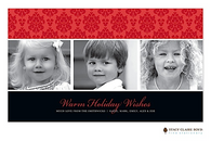 Delicate Damask Red Flat Digital Holiday Photo Card