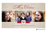 Banded Initial Flat Digital Holiday Photo Card