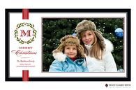 Festive Family Initial Flat Digital Holiday Photo Card