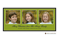 Three's A Charm Green Flat Digital Holiday Photo Card
