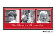Three's A Charm Red Flat Digital Holiday Photo Card