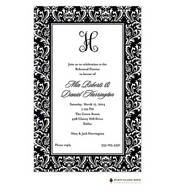 Vintage Damask Black Invitation