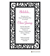 Dancing Vine Black Invitation