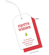 Merry Wishes Personalized Holiday Hanging Gift Tag