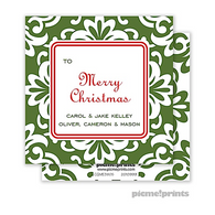 Holiday Grande Floral Evergreen Personalized Holiday Enclosure Card