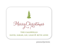 Solid White Rounded Personalized Holiday Enclosure Card