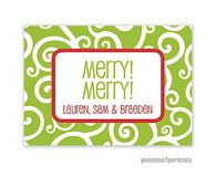 Holiday Swirls Grasshopper Personalized Holiday Enclosure Card