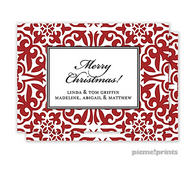 Holiday Pretty Pattern Crimson Personalized Holiday Enclosure Card