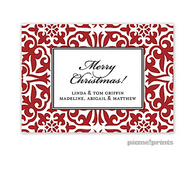 Holiday Pretty Pattern Crimson Personalized Holiday Sticker