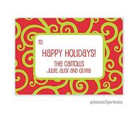 Holiday Swirls Chartreuse Personalized Holiday Sticker