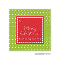 Ruffle Dots Grasshopper Personalized Holiday Sticker