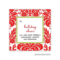 Holiday Damask Poppy Personalized Holiday Sticker