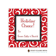 Swirls & Whirls Red Holiday Flat Enclosure Card