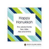Preppy Stripe Blue Holiday Gift Sticker