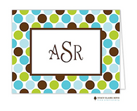 Party Dots Aqua Personalized Folded Notecard