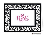 Dancing Vine Black Personalized Folded Notecard