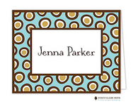 Crazy Dot Blue Personalized Folded Notecard