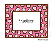 Crazy Dot Pink Personalized Folded Notecard
