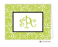Whirlygig Green Personalized Folded Notecard