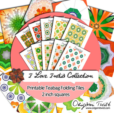 I Love India Printable Teabag Folding Tiles 10 Page Collection