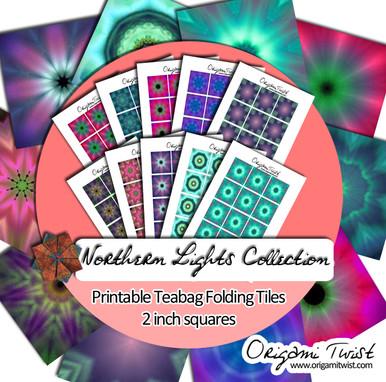 Northern Lights Printable Teabag Folding Tiles 10 Page Collection