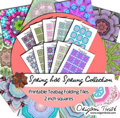 Spring Has Sprung Printable Teabag Folding Tiles 10 Page Collection