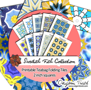 Swedish Fish Printable Teabag Folding Tiles 10 Page Collection