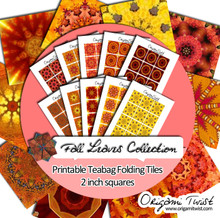 Fall Leaves Printable Teabag Folding Tiles 10 Page Collection