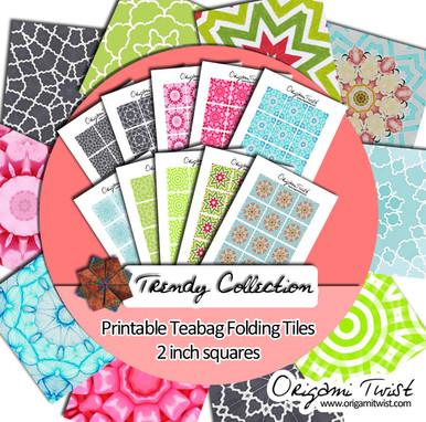Trendy Printable Teabag Folding Tiles 10 Page Collection
