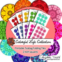 Colorful Life Printable Teabag Folding Circle Tiles 10 Page Collection