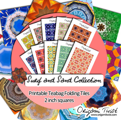 Surf and Sand Collection - Origami Twist Teabag Folding Tiles - 2 inch squares