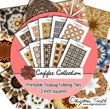Coffee Collection - Origami Twist Teabag Folding Tiles - 2 inch squares