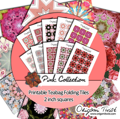 Pink Collection - Origami Twist Teabag Folding Tiles - 2 inch squares