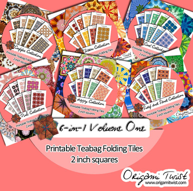 6-in-1 Volume One Collection - Origami Twist Teabag Folding Tiles - 2 inch squares
