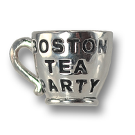 Sterling Silver Boston Tea Party charm, celebrating Boston history