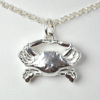 Sterling silver crab pendant celebrating Baltimore, MD