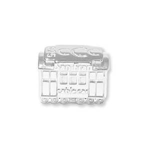 San Francisco Cable Car sterling silver slide charm. Made in the USA