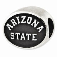 Sterling silver Arizona State University bead charm. Fits Pandora type jewelry.