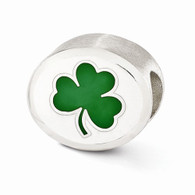 Fighting Irish bead charm in sterling silver with enamel