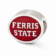 Sterling silver Ferris State University bead charm is compatible with most Pandora type charm bracelets