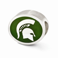 Sterling silver Michigan State University bead charm fits most Pandora type jewelry.
