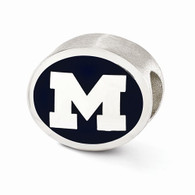 Sterling silver University of Michigan bead charm.